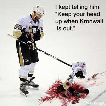 Aftermath of Kronwall hit on Malkin