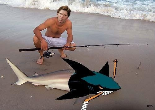 First, Babcock went Coyote hunting.  Now he is back, deep sea fishing, for Sharks!
