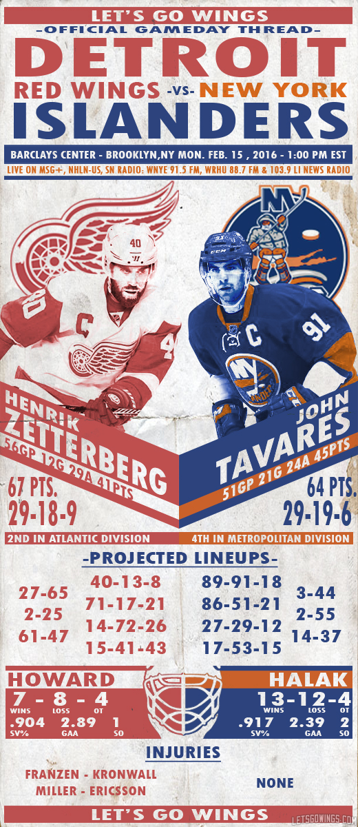 2/15 GDT : Detroit Red Wings at New York Islanders, 1:00PM EST